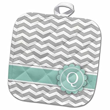 3D Rose Letter Q Monogrammed on Grey and White Chevron with Mint-Gray Zigzags-Personal Initial Zig Zags Pot Holder, 8 x 8 , Multiple Color