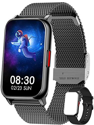 Smartwatch,1.57 Zoll Touchscreen Fitness Armbanduhr, Fitness Tracker mit Pulsuhr, IP68 Wasserdicht Sportuhr mit Schrittzähler Schlafmonitor, Smart Watch für Damen Herren für Android iOS Schwarz