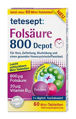 tetesept Folsäure 800 Depot – Nahrungsergänzungsmittel mit Depot-Technologie - inklusive aller B-Vitamine für eine Rundumversorgung – 1 x 60 Minitabletten