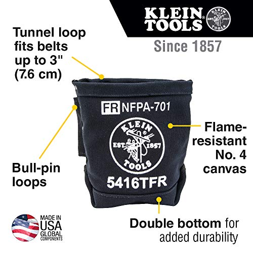 Klein Tools 5416TFR Tool Bag, Flame Resistant Canvas Bag for Bolt Storage with Double Reinforced Bottom and Tunnel Connect, 5 x 10 x 9-Inch