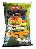 Herr's Gameday Cheese Curls 6 Ounces! 7 Layer Dip Flavored Cheese Curls! Taste Of Refried Beans, Guacamole, Sour Cream, Salsa, Cheese, Lettuce, And Tomato! Watching Games Chips Snack!