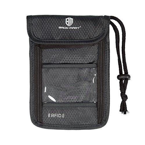 Bags-mart Borsello da viaggio con protezione RFID, da portare al collo