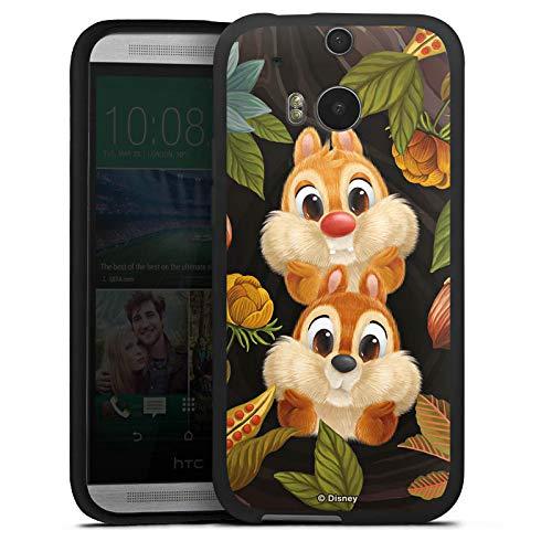 DeinDesign Silikon Hülle kompatibel mit HTC One M8s Case schwarz Handyhülle Disney Chip und Chap Offizielles Lizenzprodukt