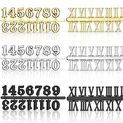 Kit de 6 Piezas Números de Reloj Incluyendo Número Árabe y Número Romano en Oro Negro Plata Números de Reloj Digital DIY para Diseñar Reemplazo Reparación de Accesorios de Reloj