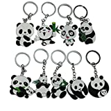 Cute Big Cartoon Metal Panda Theme Keychain Key Ring Set of 9 for Hanging Decoration Ornament Souvenirs Gift,Overall 10cm/3.9'