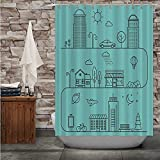 C COABALLA Vector City - in Linear Style.Icons and - City,Fabric Shower Curtain Outline with Hooks 72''Wx72''H
