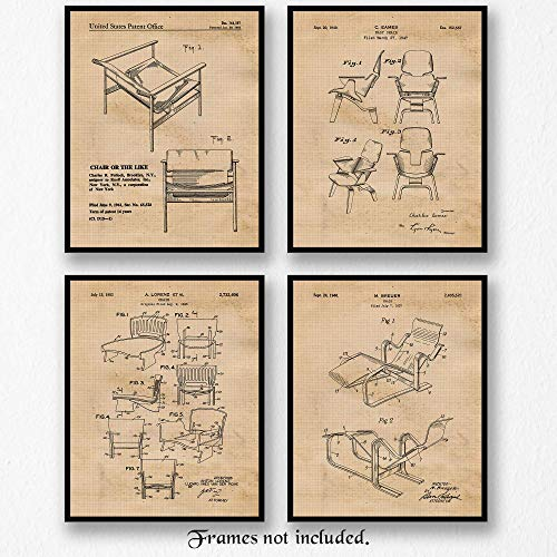 Vintage Chairs Patent Poster Prints, Set of 4 (Four) 8x10 Unframed Photos, Wall Art Decor Gifts Under 20 for Home, Office, School, Furniture Shop, College Student, Teacher, Architect, Art & Design Fan
