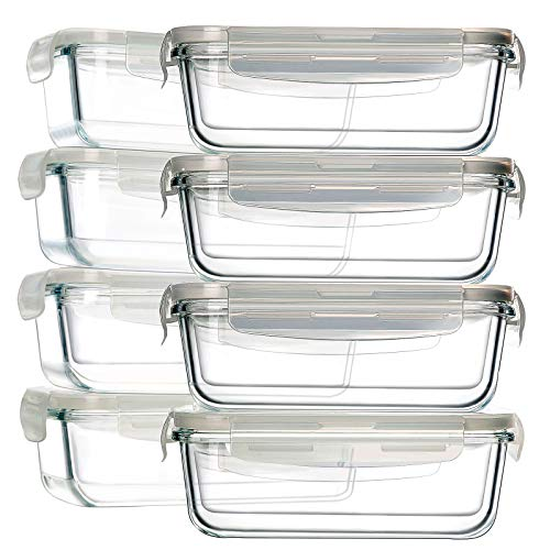 8 Pack Glass Food Storage Containers, BAYCO Glass Meal Prep Containers, Airtight Glass Storage Containers with Lids - BPA-Free & Leak Proof (8 lids & 8 Containers) 30oz