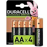 Duracell Rechargeable AA 2500mAh Batteries, Pack of 4