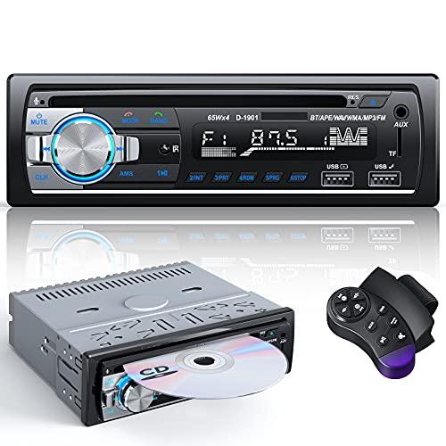 Autoradio Bluetooth CD DVD Lecteur, CENXINY RDS Poste Radio Voiture Bluetooth 5.0 Mains-Libres 1 Din Autoradio FM avec USB Micro SD AUX MP3 Player
