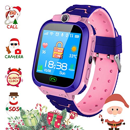 Winnes Smart Phone Bambini Telefono, localizzatore Smartwatch LBS per Bambini da 3 a 12 Anni Ragazze con Fotocamera Slot per Scheda SIM Touchscreen Smartwatch Regalo per Bambini (Blu) (Rosa)