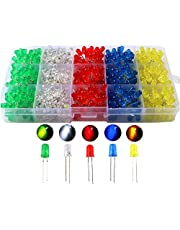 CESFONJER 500pcs x 5mm diodo emisor de luz, difusa 2pin color redondo blanco/rojo/amarillo/verde/azul kit de caja (5 colores x 100pcs)