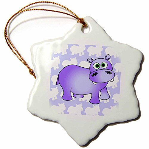 Janna Salak Designs Pretty Purple Hippopotamus Cute Hippo Snowflake Porcelain Ornament, 3-Inch