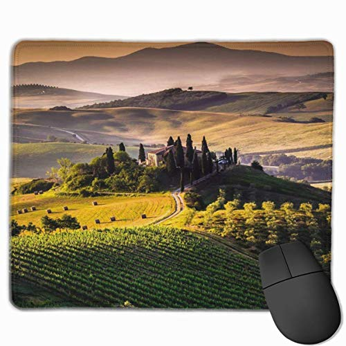Alfombrilla para ratón con bordes cosidos, duradera, antideslizante, base de goma para teclado, para oficina, verde oliva, toscana, Italia, paisaje italiano, paisaje italiano, toscano