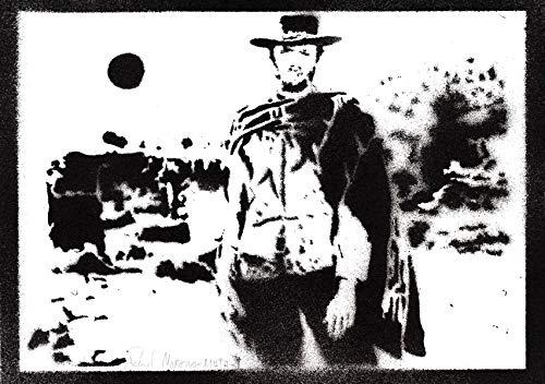 Pster Clint Eastwood Western Grafiti Hecho a Mano - Handmade Street Art - Artwork