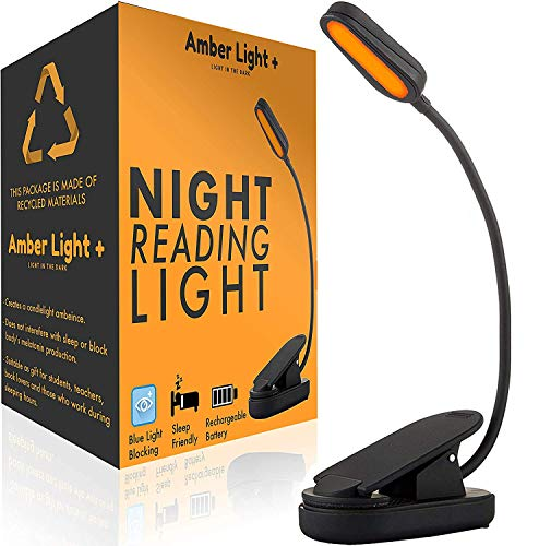 Giftable Amber Book Light - Blue Light Blocking - Night Reading Light by Amber Light Store. Rechargeable. 1600K for Reading in Bed at Night. Perfect as a Giftable Kindle Light and LED Book Light.