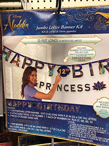 amscan Disney Aladdin Birthday Add-an-Age Letter Party Banner Kit, 17 Pc.