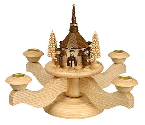 Volkskunstwerkstatt Unger Adventsleuchter mit Seiffener Kirche inkl. 4 Teelichtaufsätze - Echt Erzgebirge® #0510