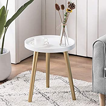 APICIZON Round Side Table White Tray Nightstand Sofa Coffee End Table for Living Room Bedroom Small Spaces Easy Assembly Decro Bedside Table 15 x 18 Inches White Gold