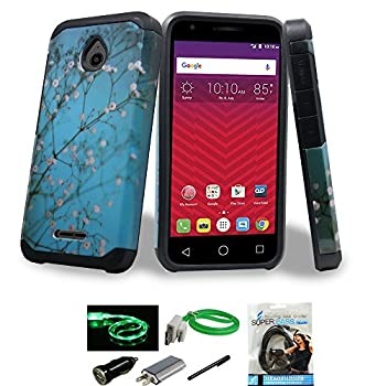 Alcatel Ideal / Streak / Dawn / Acquire Case Mstechcorp Dual Layer Hybrid Heavy Duty PC and Silicone TPU Hard Cover With Accessories  Ocean