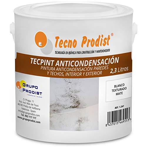 TECPINT ANTICONDENSACIÓN de Tecno Prodist - (2,3 Litros) - Pintura Anti-condensación y Anti-moho al Agua para Interior y Exterior - Paredes y Techos -gran cubrición - Fácil Aplicación - (BLANCO)
