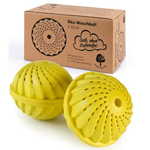 ProfessionalTree 2 x Boules de Lavage - Lavage Linge avec Perles en Céramique - Laver sans Lessive - Pour env. 1 500 lavages - Balle de Lavage sans Parfum (jaune)