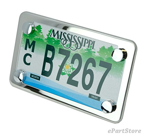 Motorcycle Slim Style Polished Stainless Steel License Plate Frame