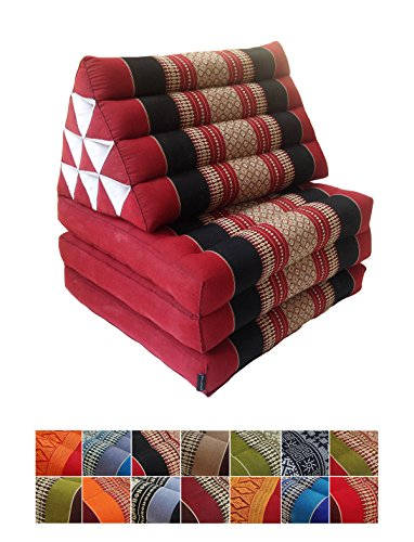 Collumino, materasso da meditazione tradizionale thailandese Kapok a 3 strati, con cuscino reclinabile triangolare in stile orientale, per yoga, massaggi o relax nero, rosso.