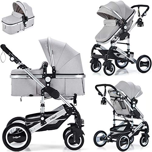 Daliya Bambimo 2in1 Kinderwagen - Kombikinderwagen 9-Teiliges Set incl. Babywanne & Sportsitz/Buggy - 1-Klick-System/Alu-Rahmen/Voll-Gummireifen/Sonnenschutz/Getränkehalter in Elegance-Grau