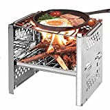 Riiai <span class='highlight'>Square</span> Wood Stove,Outdoor Barbecue Mini <span class='highlight'>Charcoal</span> Stove Folding Barbecue Outdoor Camping Folding Barbecue Equipment Cooking Utensils with Storage Bag