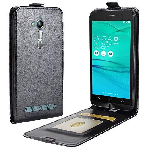 Sangrl - Funda de piel sintética con tapa para teléfono móvil, textura suave hacia arriba y hacia abajo, compatible con Für Asus ZenFone Go ZB500KL (5.0 Zoll), color negro
