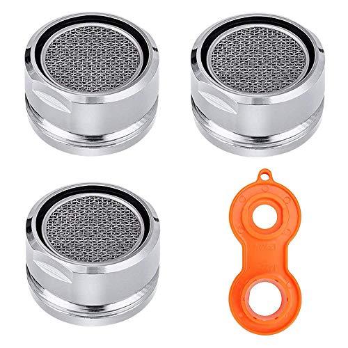 3 aireadores de grifo, 24 mm, pieza de repuesto para grifo, filtro de agua, filtro de burbuja, filtro de aireador, boquilla con llave de grifo para cocina y baño