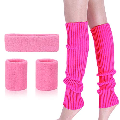 Womens 80s Neon Running Headband Wristbands Knit Leg Warmers Sports Set, Hot Pink, One Size
