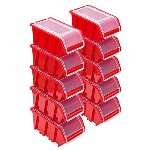 Stapelboxen Set – 10x Stapelbox mit Deckel 230x160x120 mm – Sichtbox Stapelbox Lagerbox, Rot