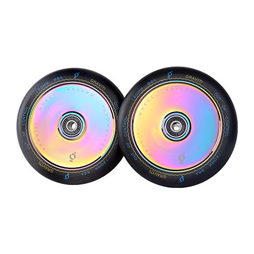 GRAVITI 1 Pair 120mm Pro Stunt Scooter Hollow Wheels with ABEC 9 Bearings for MGP/Razor/Lucky/Envy/Vokul Scooter (2pcs) (Black PU Rainbow Core)