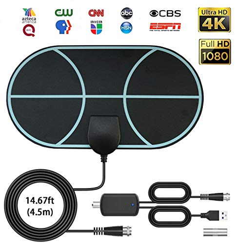 Antena de TV Interior, Max 120 millas/200 km Digital Freeview HDTV Aérea, DVB Radius señales de TV, VHF/UHF/FM, compatible con Smart TV HD 4K 1080P