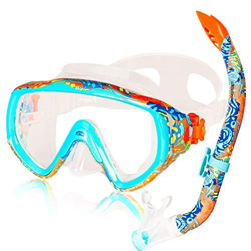 AQUAZON ELBA Schnorchelset, Tauchset, incl. Taucherbrille und Schnorchel für Kinder, Jugendliche und Damen, Farbe:Coral