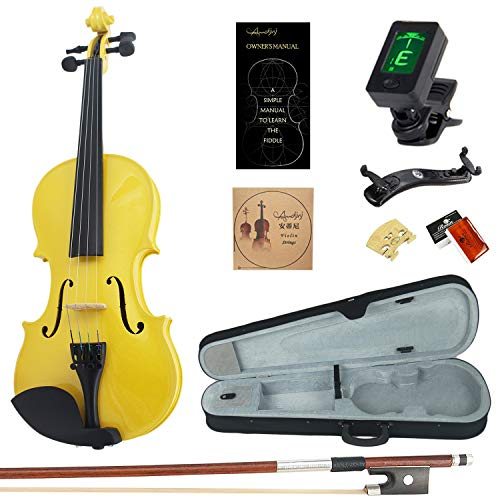 Amdini Solid Spruce 1/8 Violin Set Varnish Fiddle AC100 Eighth Size for Adults Beginners Students with Case, Tuner, Manual, Bow, Shoulder Rest, Extra Strings (Yellow)
