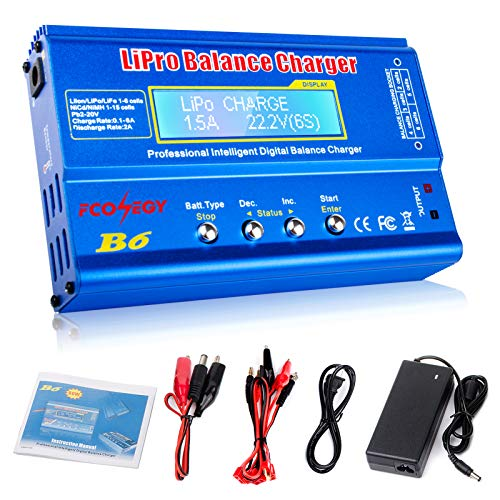 FCONEGY iMAX B6 Balance Ladegerät 80W 6A LCD-Balance-Ladegerät für LiPo / Li-Ion / Life Akku (1-6S) NiMH / NiCd (1-15S), RC Hobby Akku Ladegerät LED W / AC Power Adapter