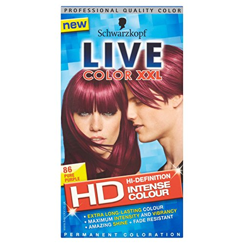 3 x Schwarzkopf Live Color XXL HD Intense Colour Permanent Coloration 86 Pure Purple