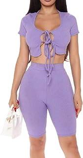 Gocgt Women's Sexy 2 Piece Crop Top Bodycon High Waist Shorts