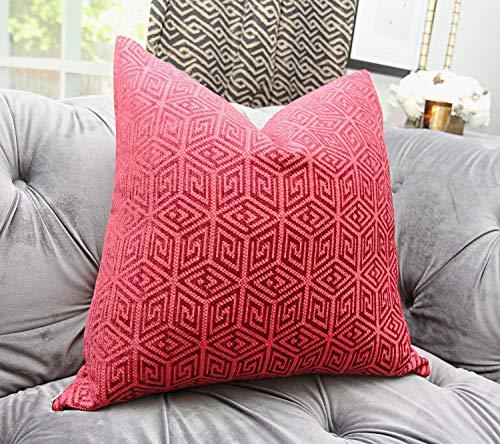 Ol322ay Schumacher kussensloop Raspberry rood en bordeaux geometrisch kussen Griekse sleutel kussensloop gooi kussen Boheems decor midden eeuw