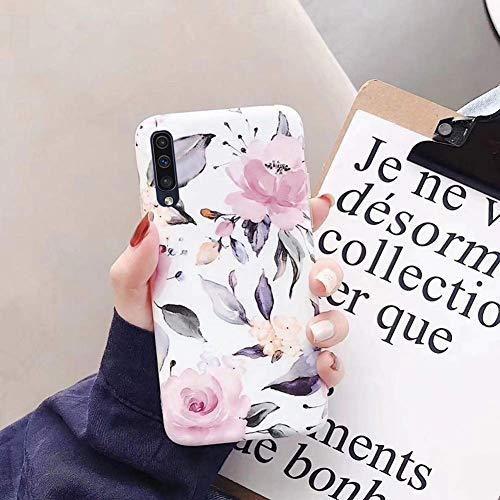 Saceebe Compatible avec Huawei P20 Coque Fleur Feuilles Dessin Antichoc TPU Housse de Protection Silicone Motif Souple Etui Antichoc Ultra Mince Fine Housse Bumper,Fleur Rose