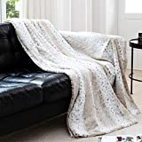 Cheer Collection Embossed Faux Fur Throw Blanket - Ultra Soft Fuzzy Blanket, 60' x 70' - Snow Leopard