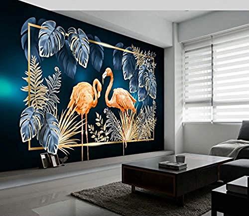 XHXI Papel tapiz azul 3D Flamingo DIY sala de estar dormitorio Mural decoración del hogar Tv cabecera arte Fon Pared Pintado Papel tapiz Decoración dormitorio Fotomural sala sofá mural-400cm×280cm