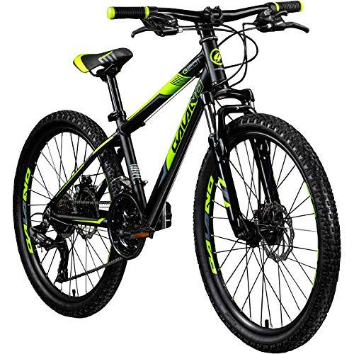 Galano Jugendfahrrad 24 Zoll Mountainbike ab 130 cm 21 Gänge G201 MTB Fahrrad (schwarz/grün)