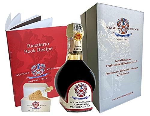 Vinaigre Balsamique Traditionnel de Modène AOP vieux de 12 ans. 100ml + Doseur en verre + Livre de recettes - Acetaia Malpighi