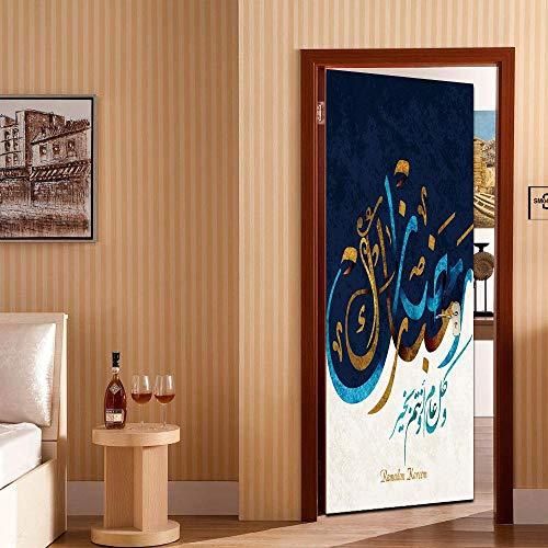 BXZGDJY deurbehang, zelfklevend, Arabische kalligrafie, 3D-deursticker, decoratie, deur-wand-papier-wandfoto, Pvc-waterdichte zelfklevende schaal en stok-deur, wandbehang, kunstdecoratief 80X200CM