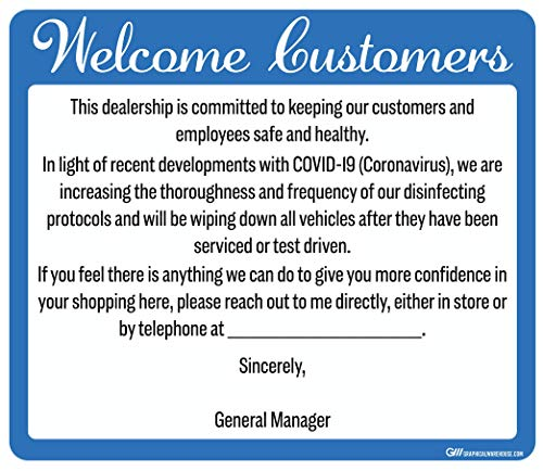 """'Car Dealership' COVID-19 (Coronavirus) Durable Vinyl Decal- 14x12"""" Sign by Graphical Warehouse- Safety and Security Signage, Visual Communication Tool (Blue)"""