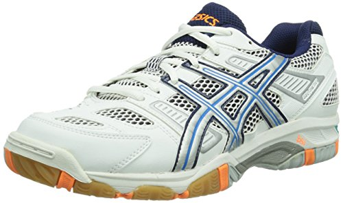 Asics Herren GEL-TACTIC Volleyballschuhe, Weiß (WHITE/DIVA BLUE/LIGHTNING 0141), 42 EU (7.5 UK)